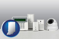 indiana map icon and home alarm system