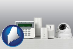 maine map icon and home alarm system