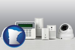 minnesota map icon and home alarm system