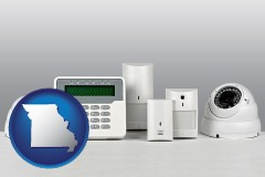 missouri map icon and home alarm system