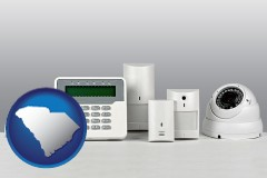 south-carolina map icon and home alarm system